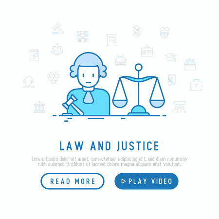 Judge with a hammer and scales. Law and justice concept with thin line icons. Vector illustration for template of web page.