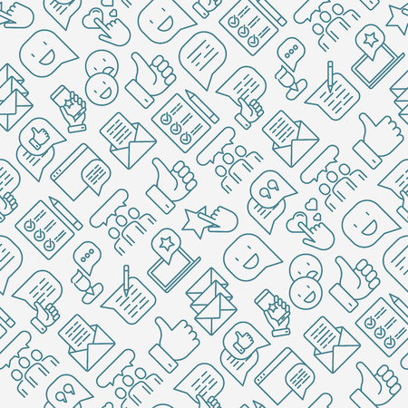 Testimonials and quote seamless pattern with thin line icons of review, feedback, survey, comment. Vector illustration for banner, web page, print media.