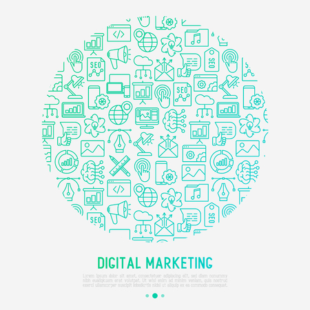 Digital marketing concept in circle with thin line icons: searching idea, development, optimization, management, communication. Vector illustration for banner, web page, print media.