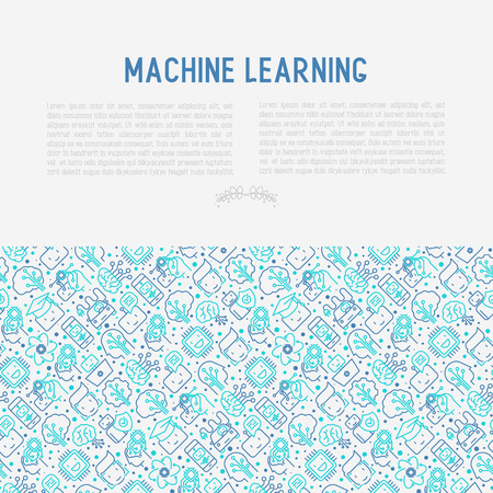 Machine learning and artificial intelligence concept with thin line icons. Vector illustration for banner, web page, print media.  イラスト・ベクター素材