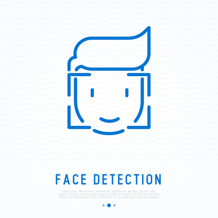 Face detection thin line icon
