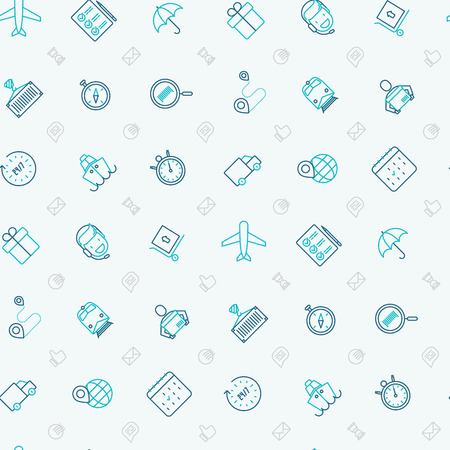 Logistics seamless pattern with thin line icons of delivery, box, airplane, train, marine, crane, globe with pointer. Vector illustration for banner, web page, print media.