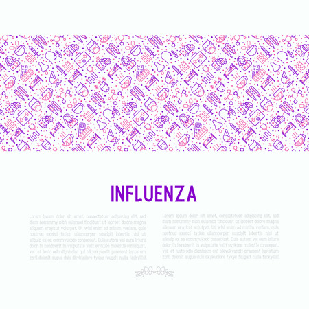 Influenza concept with thin line icons of symptoms and treatments: runny nose, headache, pain in throat, temperature, pills, medicine. Vector illustration for banner, web page, print media.