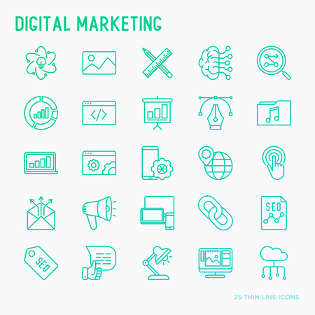 Digital marketing thin line icons set: searching idea, development, optimisation, management, communication. Vector illustration for banner, web page, print media.