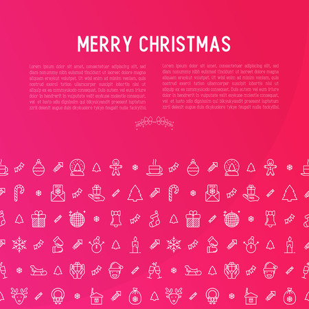Christmas celebration concept with thin line New Year and Christmas symbols.