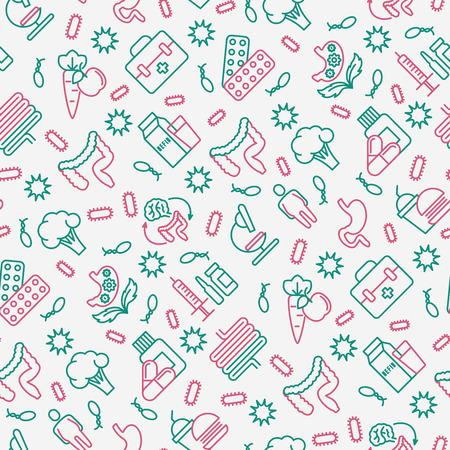 Gut flora seamless pattern with thin line icons: gut, bacteria, obesity, stomach, infection, depression, medicine. Vector illustration for medical survey or report. Illustration