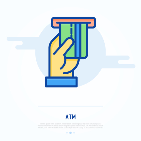 Inserting of credit card in slot of ATM thin line icon. Modern vector illustration.