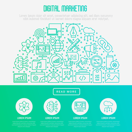 Digital marketing concept in half circle with thin line icons: searching idea, development, optimization, management, communication. Vector illustration for banner, web page, print media.