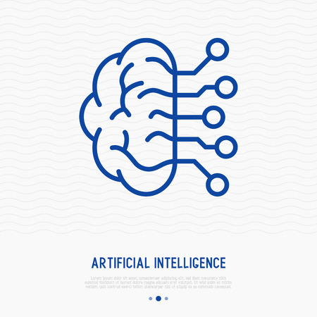 Artificial Intelligence thin line icon. Modern vector illustration of machine learning. Ilustrace
