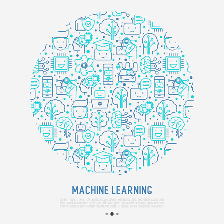 Machine learning and artificial intelligence concept in circle with thin line icons. Vector illustration for banner, web page and print media.