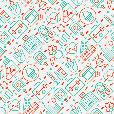 Diabetes seamless pattern with thin line icons of symptoms and prevention care. Vector illustration for background of medical survey or report, for banner, web page, print media.  Illustration