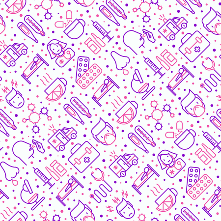 Influenza seamless pattern with thin line icons of symptoms and treatments: runny nose, headache, pain in throat, temperature, pills, medicine. Vector illustration for banner, web page, print media.