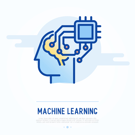 Artificial Intelligence thin line icon. Vector illustration of machine learning.