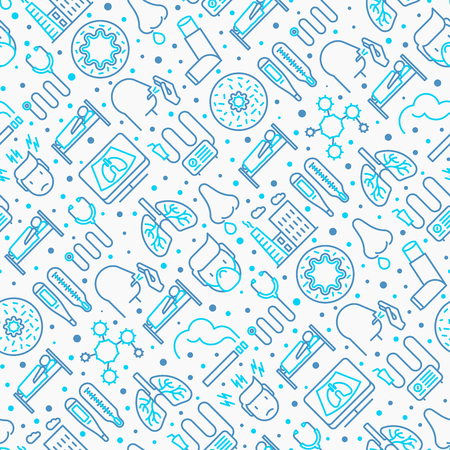 Bronchitis seamless pattern with thin line icons of symptoms and treatments: headache, alveolus, inhaler, nebulizer, stethoscope, thermometer, x-ray, bed rest. Vector illustration. Vectores