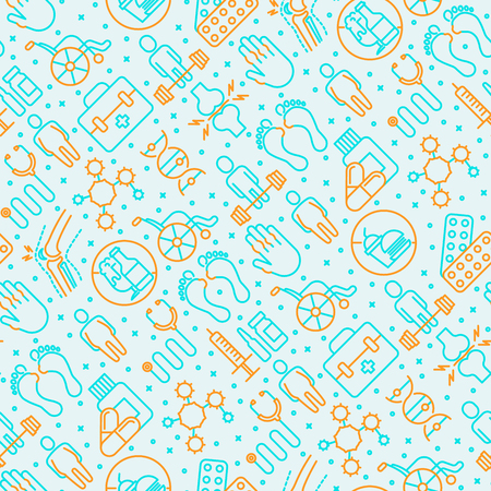 Arthritis seamless pattern with thin line icons of symptoms and treatments: pain in joints, obesity, fast food, alcohol, medicine, wheelchair. Vector illustration for banner, web page, print media.