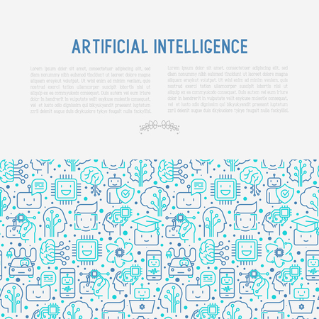 Machine learning and artificial intelligence concept with thin line icons. Vector illustration for banner, web page, print media. Illustration