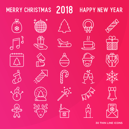 Christmas celebration thin line New Year and Christmas icons set. Vector illustration for banner, invitation, print media.