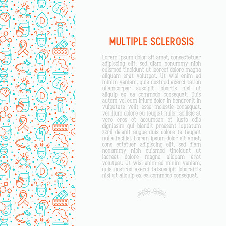 Multiple sclerosis concept with thin line icons of symptoms and treatments.