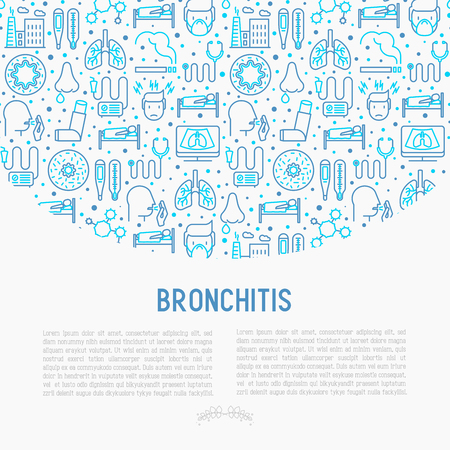 Bronchitis concept with thin line icons of symptoms and treatments.