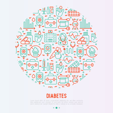Diabetes concept in circle with thin line icons of symptoms and prevention care.
