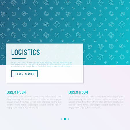 Logistics concept with thin line icons. Vector illustration for banner, web page, print media. Ilustrace