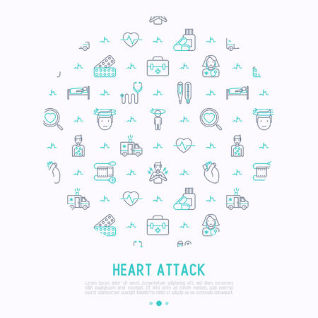 Heart attack concept in circle with thin line icons of symptoms and treatments. Иллюстрация