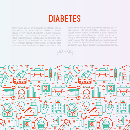 Diabetes concept with thin line icons of symptoms and prevention care. Vector illustration for background of medical survey or report, for banner, web page, print media.  Illustration