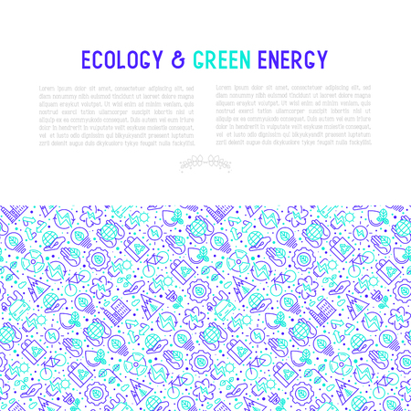 Ecology and green energy concept with thin bicolor line icons for environmental, recycling, renewable energy, nature.