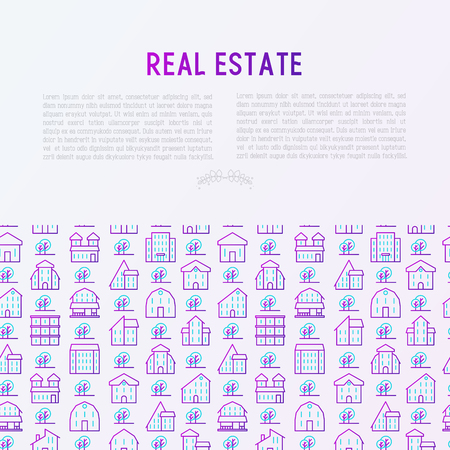Real estate concept with thin line houses and trees. Modern vector illustration for background of banner, web page, print media.  イラスト・ベクター素材