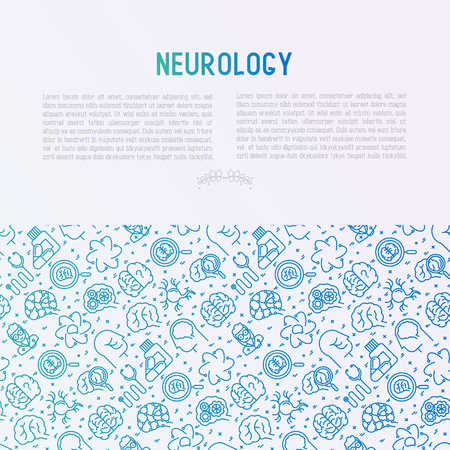 Neurology concept with thin line icons.