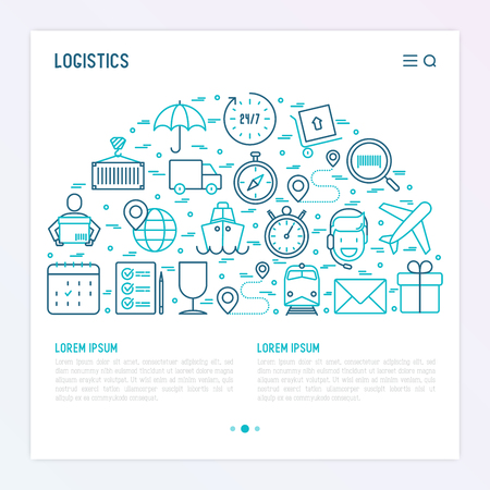 Logistics concept in half circle with thin line icons of delivery, box, airplane, train, marine, crane, globe with pointer. Vector illustration for banner, web page, print media. Иллюстрация