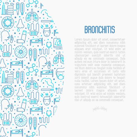 Concepto de bronquitis con iconos de líneas finas de síntomas y tratamientos: dolor de cabeza, alvéolo, inhalador, nebulizador, estetoscopio, termómetro, rayos x, reposo en cama. Ilustración de vector.