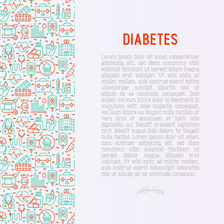 Diabetes concept with thin line icons of symptoms and prevention care. Vector illustration for background of medical survey or report, for banner, web page, print media.  Ilustracja