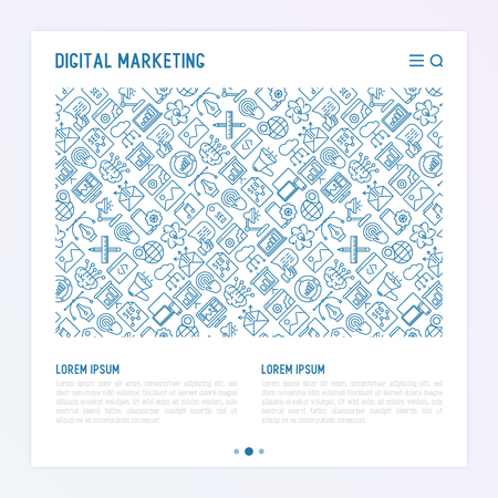 Digital marketing concept with thin line icons: searching idea, development, optimization, management, communication. Vector illustration for banner, web page, print media.