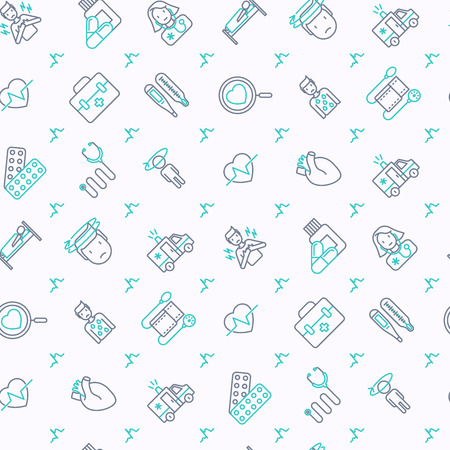 Heart attack seamless pattern with thin line icons of symptoms and treatments. Modern vector illustration for medical report or survey, banner, web page, print media. Illustration