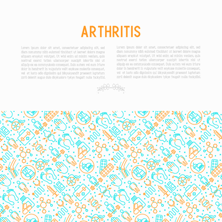 Arthritis concept with thin line icons of symptoms and treatments: pain in joints, obesity, fast food, alcohol, medicine, wheelchair. Vector illustration for banner, web page, print media. Illustration