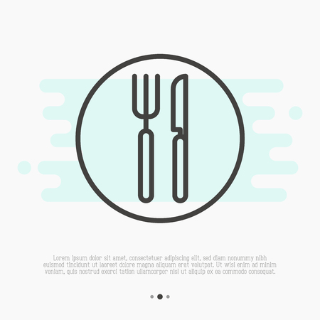 Restaurant thin line sign with fork and knife. Dining area. Vector illustration.