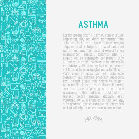 Concepto del día mundial del asma con iconos de líneas finas: contaminación del aire, tabaquismo, respirador, terapeuta, inhalador, bronquios, síntomas de alergia y alérgenos. Ilustración de vector de banner, página web. Ilustración de vector