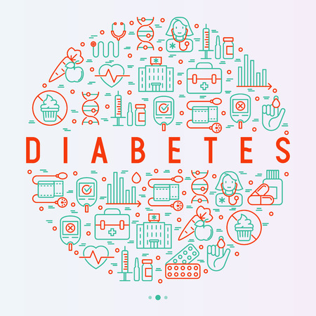 Diabetes concept in circle with thin line icons of symptoms and prevention care. Vector illustration for background of medical survey or report, for banner, web page, print media.  Illustration