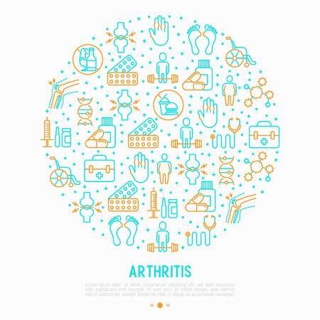 Concept d'arthrite en cercle avec des icônes de fine ligne de symptômes et de traitements: douleur dans les articulations, obésité, restauration rapide, alcool, médecine, fauteuil roulant. Illustration vectorielle pour bannière, page Web, médias imprimés.