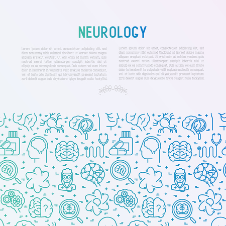 Neurology concept with thin line icons: brain, neuron, neural connections, neurologist, magnifier. Vector illustration for medical survey or report with place for text. Illustration