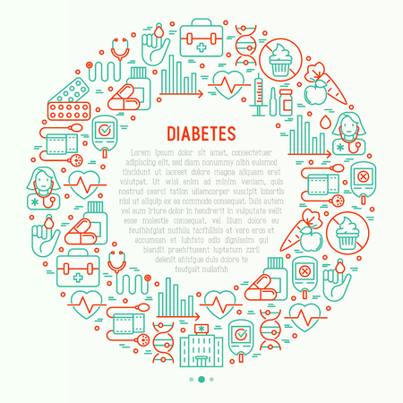 Diabetes concept in circle with thin line icons of symptoms and prevention care. Vector illustration for background of medical survey or report, for banner, web page, print media.  Vettoriali