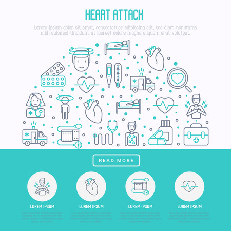 Heart attack concept in circle with thin line icons of symptoms and treatments. Modern vector illustration for medical report or survey, banner, web page, print media.