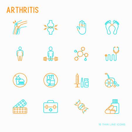Artritis dunne lijn iconen set van symptomen en behandelingen: pijn in gewrichten, obesitas, fastfood, alcohol, medicijnen, rolstoel. Vector illustratie.