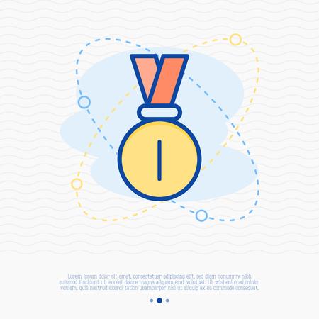 Medal thin line icon. Vector illustration of champion symbol.