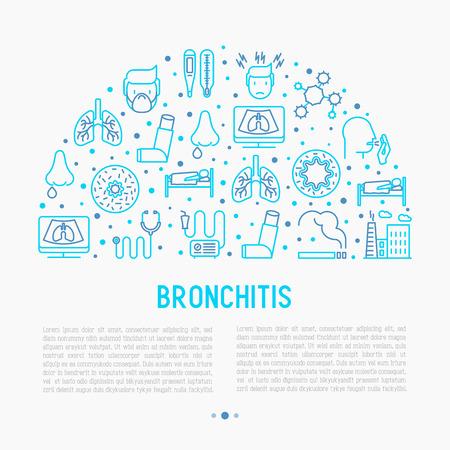 Concepto de bronquitis con iconos de líneas finas de síntomas y tratamientos: dolor de cabeza, alvéolo, inhalador, nebulizador, estetoscopio, termómetro, rayos x, reposo en cama. Ilustración de vector de banner, medios impresos.