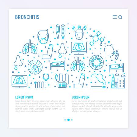Concepto de bronquitis con iconos de líneas finas de síntomas y tratamientos: dolor de cabeza, alvéolo, inhalador, nebulizador, estetoscopio, termómetro, rayos x, reposo en cama. Ilustración de vector de banner, medios impresos. Ilustración de vector