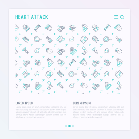 Heart attack concept with thin line icons of symptoms and treatments. Modern vector illustration for medical report or survey, banner, web page, print media with place for text.  イラスト・ベクター素材