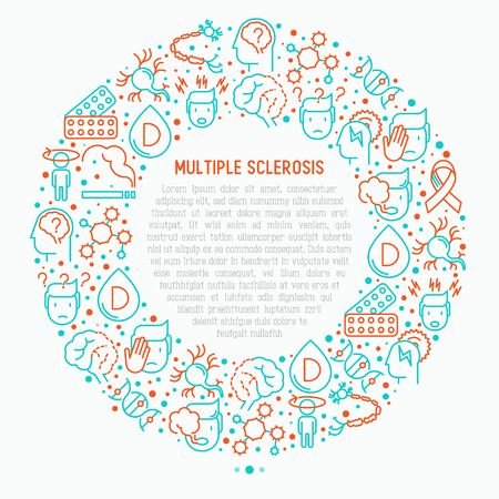 Multiple sclerosis concept in circle with thin line icons of symptoms and treatments: disorientation, heredity, neuron myelin sheaths, vitamin D. Vector illustration for banner, web page.