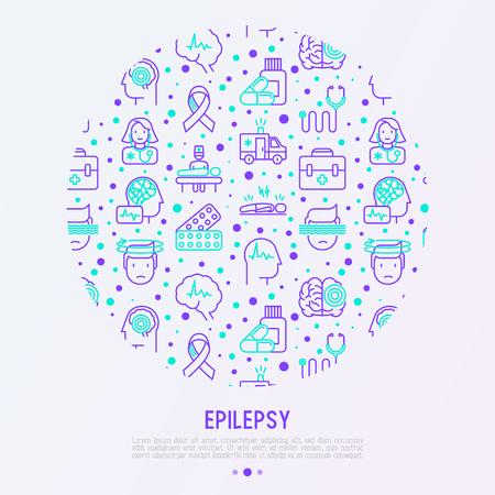 Concepto de epilepsia en círculo con iconos de líneas finas de síntomas y tratamientos: convulsiones, trastornos, mareos, exploración cerebral. Día mundial de la epilepsia. Ilustración de vector de banner, página web, medios impresos.